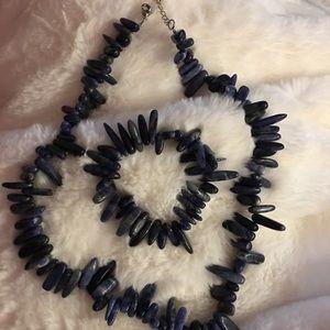 🛑 bogo Blue beaded necklace and bracelet
